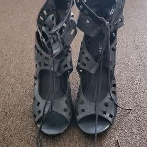 Open Toe Black Leather high heel
